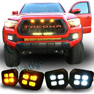 Fog Lamps Light Fit 2016 2017 2018 Toyota Tacoma Drl Double Lights Clear