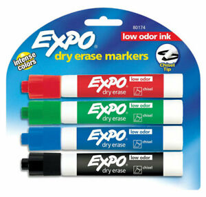 Expo Dry Erase Marker Assorted Colors Glass Pack 4 Pack Of 6