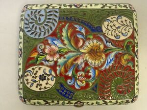 Antique Russian 84 Silver Shaded Enamel And Beaded Cigarette Case Maria Semenova