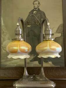 Antique Signed Robert Bousquet Lamp With Steuben Pulled Feather Shades