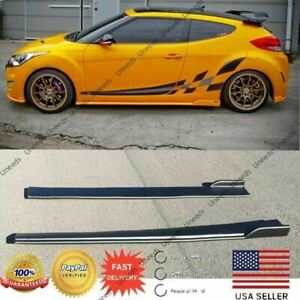 Mod Style Unpainted Black Side Skirts Body Kit For Hyundai Veloster 2012 2017
