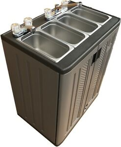 Portable Concession Mobile Sink Three Compartment Hot Water W hand Wash Sink