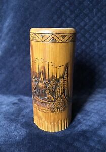 Antique Vintage Chinese Japanese Lacquered Wood Caved Bamboo Brush Pot