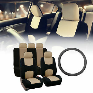 Flat Cloth Split Bench Car Seat Covers Beige Black With Steering Wheel Cover