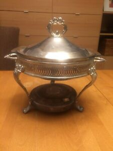 Vintage Silverplate Covered Chafing Warming Dish W Marinex Dish
