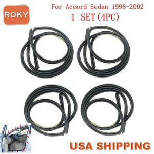 4pc Rubber Seal Weather Strip On Body Frame For Honda Accord Sedan 1998 2002