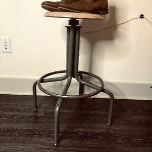 Industrial Art Deco Teldo Type Steel Spin Stool Prop Design Drafting Chair