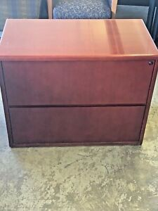 2dr 36 1 2 w X 19 1 2 d X 28 1 2 h Lateral File Cabinet In Cherry Finish Wood
