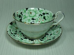 Victoria Bone China Peony Black Cup And Saucer White Floral On Black Gold Trim