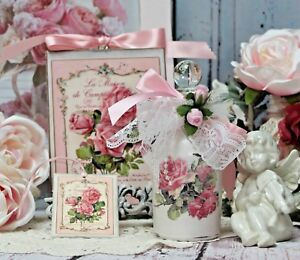 Shabby Chic Vintage Paris Decorative Perfume Type Bottle Wall Sign Faded Roses