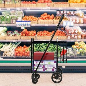 Folding Shopping Basket Rolling Trolley With Adjustable Handle Shopping Carts Us