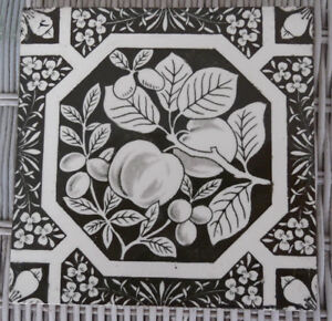 Antique Aesthetic Period English Dk Brown Transferware 6 Tile W Fruit Booth