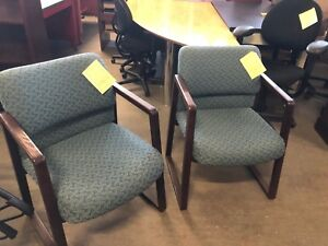 Lot Of 2 Guest Lobby Side Chairs W Wood Frame By Hon Office Furniture