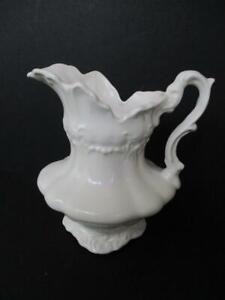 Gorgeous Ornate Embossed Antique White Ironstone 7 Pitcher