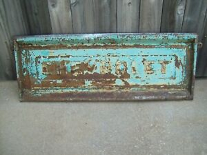 Vintage 55 59 60 66 67 72 Chevy Chevrolet Truck Tailgate Old Green Paint Patina