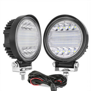 2pcs 4inch Led Round Work Driving Lights Combo Beam Reverse Bumper Front wiring