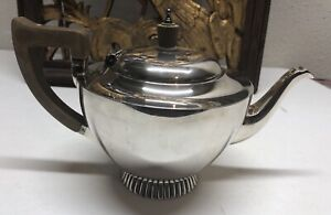 Wakely Wheeler 1892 Antique Sterling Silver W Wooden Handle Top Tea Pot