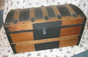 Dome Top Humpback Steamer Trunk Wood Antique Circa 1800s 1900 Authentic