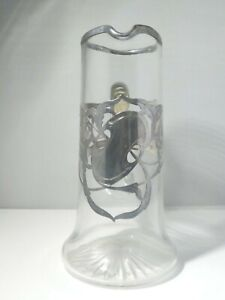 Vintage Large Sterling Silver Overlay Glass Pitcher