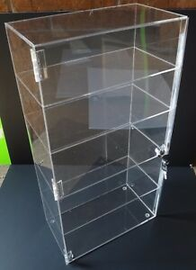 Acrylic Counter Top Display Case 12 5 x 7 X22 5 locking Cabinet Showcase Boxes