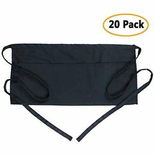 Waist Aprons Apron With 3 Pockets 20 Pack Black Waitress Waiter Server Half For