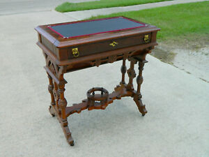 Lamp Table Sewing Table Desk Walnut Victorian