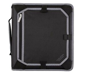 Five Star 2 Inch Zipper Binder 3 Ring Binder expansion Panel durable Black gray