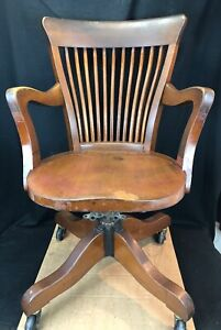 Antique Contoured Walnut Office Chair Solid And Comfortable