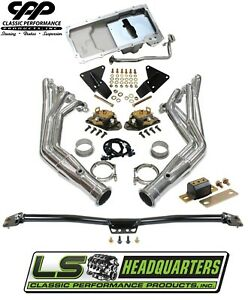 1968 72 Chevy Chevelle Ls Engine Conversion Kit Adjustable Mounts Holley Ls Pan