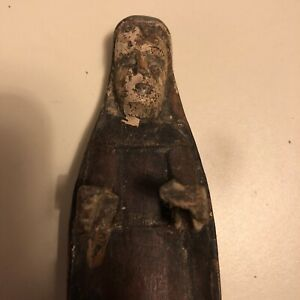 Antique Mexican Santo Carved Wood Madonna Mary Early Folk Art