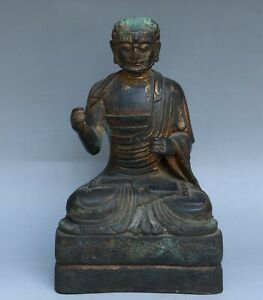 Chinese Exquisite Handmade Luohan Copper Gilt Statue