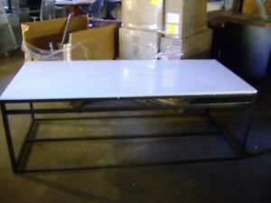 Black White Metal Retail Table W Laminate Top