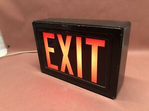 Vintage Movie Theater Exit Sign Glass Works a11