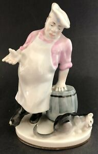1950s Russian Soviet Porcelain Figurine Cat And Cook By V Mikhalev