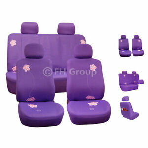 Luxury Sport Car Seat Cover Set Front Rear Purple For Car Truck Suv