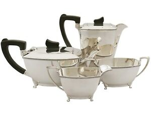 Sterling Silver Four Piece Tea Coffee Set Art Deco Style Vintage 1955
