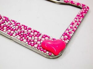 Vibrant Pink Silver Pink Heart Crystal Rhinestone License Plate Frame Car Auto