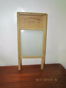 Vintage National No 863 Glass And Wood Lingerie Washboard