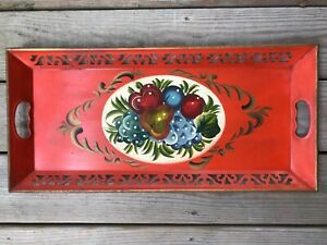 Vintage Toleware Tole Painted Pierced Tin Tray Fruit Wall Hanger Orange Gilt
