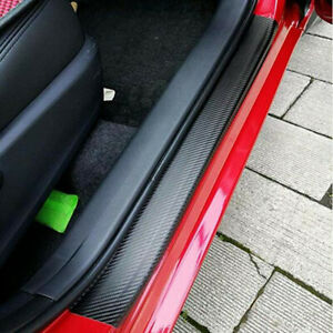 Car Accessories Door Sill Scuff Plate Carbon Fiber Stickers For Ford Mustang