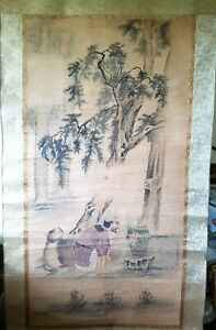 A Very Large Antique Chinese Scroll Painting About Taoist And Myth