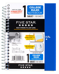 Five Star Spiral Notebook 1 Subject College Ruled Paper 100 Sheets 7 X 5