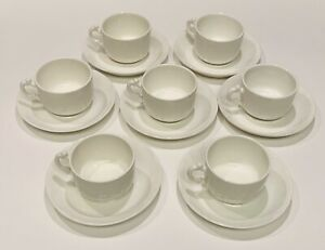 7 Vintage Antique Demi Cups Saucers White Ironstone Maddock Sons England