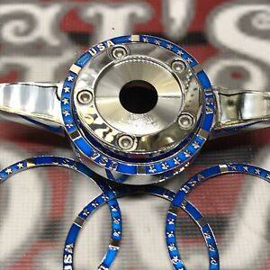 New Zenith Wire Wheel Locking Knock Off Candy Blue Chrome Rings