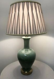 Vintage Mid Century Modern Retro Atomic Sea Foam Green Glazed Lamp Circa 1960s