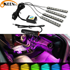 4pcs App Led Car Interior Light Neon Atmosphere Ambient Lamp Bulb Accessories