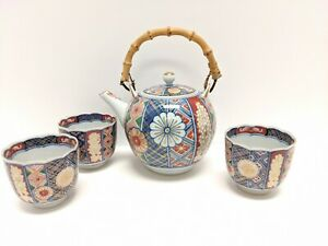 Chinese Antique Porcelain Teapot Cups China Asian Imari Style Signed By Artist