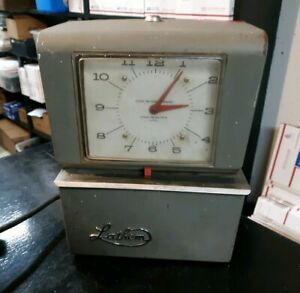 Latham Model Punch Time Clock Working No Key Antique All Metal Glass Made In Usa