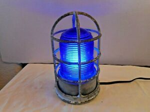 Explosion Proof Industrial Caged Light Fixture Blue Glass