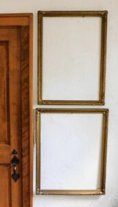 2 Large Vintage Ornate Gold Gilt Wood Picture Frames Holds 28 X 22 And 28 X 20